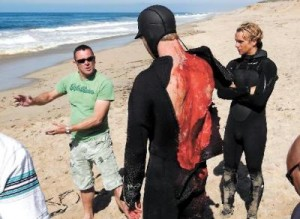 The re-enaction of a shark attack on surfer Todd Endris